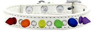 Crystal with Rainbow Spikes Dog Collar White Size 14