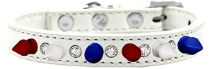 Crystal with Red, White and Blue Spikes Dog Collar White Size 16