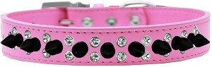 Double Crystal and Black Spikes Dog Collar Bright Pink Size 14