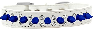 Double Crystal and Blue Spikes Dog Collar White Size 16