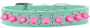 Double Crystal and Bright Pink Spikes Dog Collar Aqua Size 14