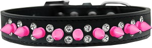Double Crystal and Bright Pink Spikes Dog Collar Black Size 18