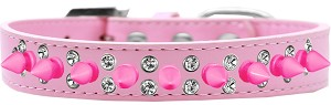 Double Crystal and Bright Pink Spikes Dog Collar Light Pink Size 18