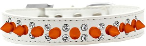 Double Crystal and Neon Orange Spikes Dog Collar White Size 18