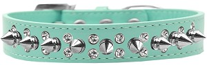 Double Crystal and Silver Spikes Dog Collar Aqua Size 16