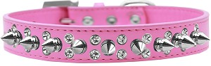 Double Crystal and Silver Spikes Dog Collar Bright Pink Size 14