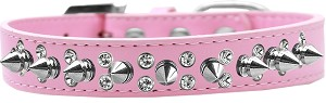 Double Crystal and Silver Spikes Dog Collar Light Pink Size 12
