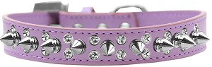 Double Crystal and Silver Spikes Dog Collar Lavender Size 18