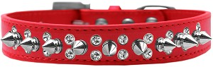 Double Crystal and Silver Spikes Dog Collar Red Size 16