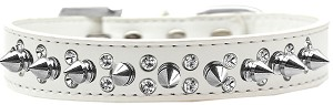 Double Crystal and Silver Spikes Dog Collar White Size 16