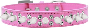 Double Crystal and White Spikes Dog Collar Bright Pink Size 16