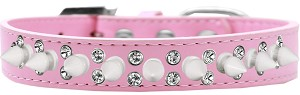 Double Crystal and White Spikes Dog Collar Light Pink Size 14