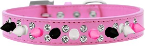 Double Crystal with Black, White and Bright Pink Spikes Dog Collar Bright Pink Size 18