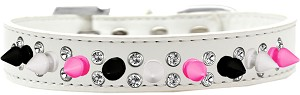 Double Crystal with Black, White and Bright Pink Spikes Dog Collar White Size 14