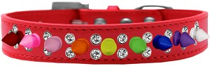Double Crystal with Rainbow Spikes Dog Collar Red Size 14