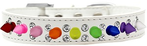 Double Crystal with Rainbow Spikes Dog Collar White Size 14
