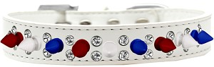 Double Crystal with Red, White and Blue Spikes Dog Collar White Size 18