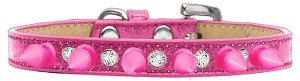 Crystal and Bright Pink Spikes Dog Collar Pink Ice Cream Size 14