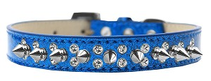 Double Crystal and Silver Spikes Dog Collar Blue Ice Cream Size 16