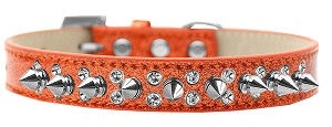 Double Crystal and Silver Spikes Dog Collar Orange Ice Cream Size 16