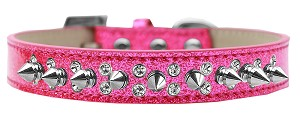 Double Crystal and Silver Spikes Dog Collar Pink Ice Cream Size 16