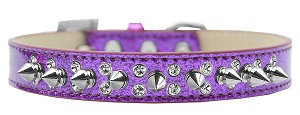 Double Crystal and Silver Spikes Dog Collar Purple Ice Cream Size 18