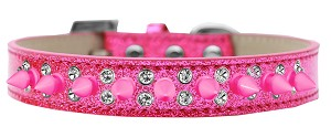 Double Crystal and Bright Pink Spikes Dog Collar Pink Ice Cream Size 16
