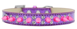 Double Crystal and Bright Pink Spikes Dog Collar Purple Ice Cream Size 16