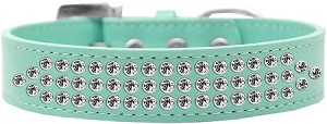 Three Row Clear Crystal Dog Collar Aqua Size 14
