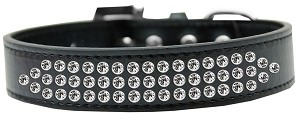 Three Row Clear Crystal Dog Collar Black Size 16