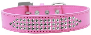 Three Row Clear Crystal Dog Collar Bright Pink Size 18