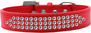 Three Row Clear Crystal Dog Collar Red Size 20