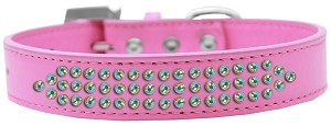 Three Row AB Crystal Dog Collar Bright Pink Size 16