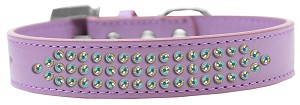 Three Row AB Crystal Dog Collar Lavender Size 20