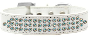 Three Row AB Crystal Dog Collar White Size 20