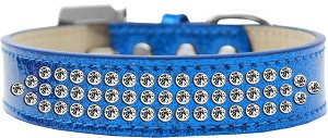 Three Row Clear Crystal Ice Cream Dog Collar Blue Size 12