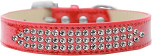 Three Row Clear Crystal Ice Cream Dog Collar Red Size 18