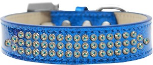 Three Row AB Crystal Ice Cream Dog Collar Blue Size 16