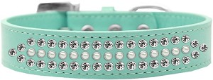 Ritz Pearl and Clear Crystal Dog Collar Aqua Size 18