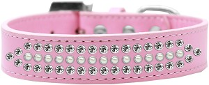 Ritz Pearl and Clear Crystal Dog Collar Light Pink Size 14