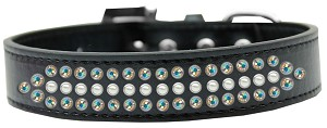 Ritz Pearl and AB Crystal Dog Collar Black Size 20