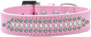Ritz Pearl and AB Crystal Dog Collar Light Pink Size 18