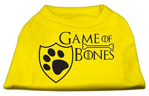 Game of Bones Screen Print Dog Shirt Yellow XXL (18)