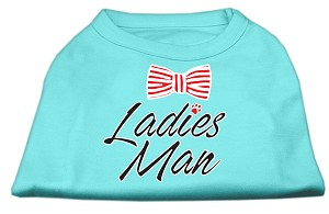 Ladies Man Screen Print Dog Shirt Aqua Lg (14)