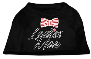 Ladies Man Screen Print Dog Shirt Black Med (12)