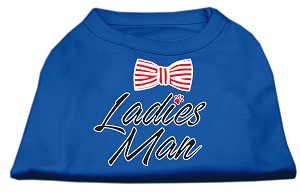 Ladies Man Screen Print Dog Shirt Blue XS (8)