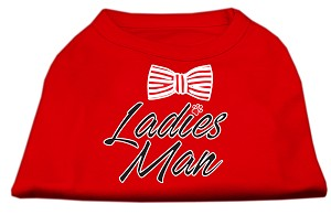 Ladies Man Screen Print Dog Shirt Red XS (8)
