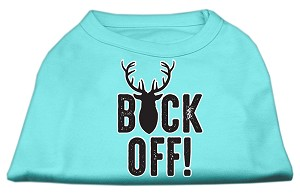 Buck Off Screen Print Dog Shirt Aqua Lg (14)