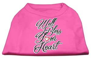 Well Bless Your Heart Screen Print Dog Shirt Bright Pink Lg (14)