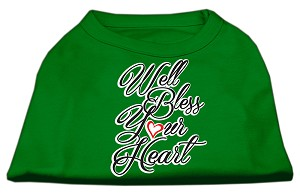 Well Bless Your Heart Screen Print Dog Shirt Green XS (8)